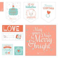 Set of cute Valentines day gift tags and journaling cards templates. Romantic and beauty stickers, banners, labels and posters set. Lovely invitations with style illustrations with romantic typography