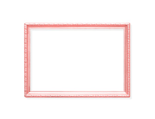 Decoration colorful metal pink picture frame with carving flower patterns  isolated on white background with clipping path