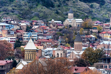 Tbilisi Sioni Cathedral,  Cathedral of Saint Mary of Zion and Mother of the Georgians statue on Sololaki hill in downtown Tbilisi, Georgia. 27-11-2017