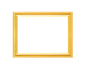 Decoration gorgeous metal gold picture frame with carving flower patterns  isolated on white background with clipping path