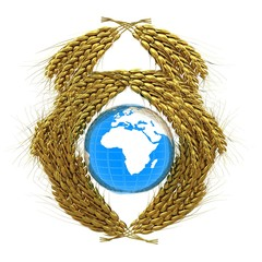 Wheat ears logo design with Earth. 3d render