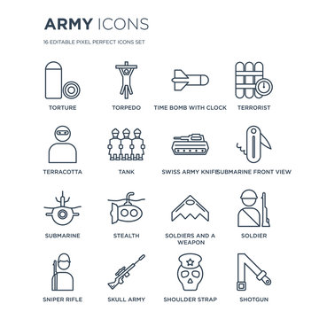 16 linear Army icons such as torture, Torpedo, Skull Army, Sniper Rifle, Soldier, Shotgun, Terracotta modern with thin stroke, vector illustration, eps10, trendy line icon set.