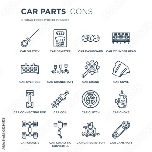 16 linear Car parts icons such as car dipstick, demister, catalytic