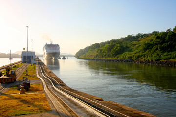 Cruise ship enters the Miraflores lock in the Panama Canal.