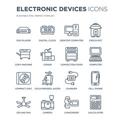 16 linear Electronic devices icons such as DVD Player, Digital clock, Camera, ceiling fan, cell phone, Calculator modern with thin stroke, vector illustration, eps10, trendy line icon set.