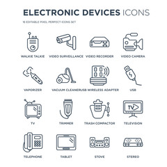 16 linear Electronic devices icons such as Walkie talkie, video surveillance, Tablet, Telephone, Television, stereo modern with thin stroke, vector illustration, eps10, trendy line icon set.