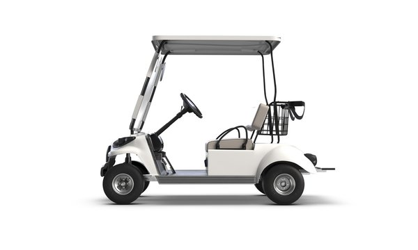 3D render of Golf cart isolated on white background