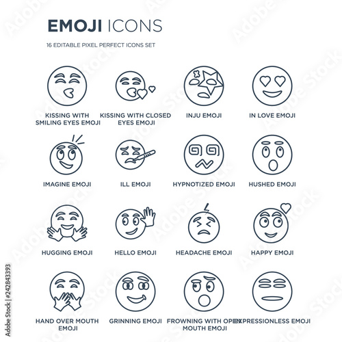 16 linear Emoji icons such as Kissing With Smiling Eyes
