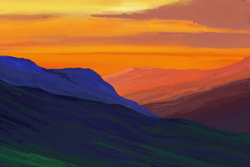 Mountains in the background of the sunset. Illustration painting