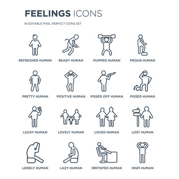 16 linear Feelings icons such as refreshed human, ready lazy lonely lost inspi human modern with thin stroke, vector illustration, eps10, trendy line icon set.