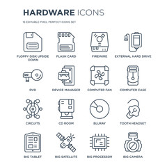 16 linear hardware icons such as Floppy Disk Upside Down, Flash Card, Big Satellite, Tablet, tooth Headset modern with thin stroke, vector illustration, eps10, trendy line icon set.