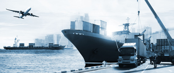 Transportation and import-export, logistic ,shipping business industry