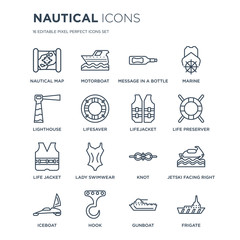 16 linear Nautical icons such as nautical Map, motorboat, Hook, iceboat, Jetski Facing Right, Frigate, Lighthouse modern with thin stroke, vector illustration, eps10, trendy line icon set.