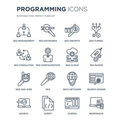 16 linear Programming icons such as Seo Management, SEO Keywords, Script, Search, Search engine, Responsive modern with thin stroke, vector illustration, eps10, trendy line icon set.
