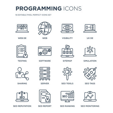 16 linear Programming icons such as Web de, Web, SEO report, Reputation, seo Tags, Monitoring, Testing modern with thin stroke, vector illustration, eps10, trendy line icon set.