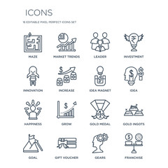 16 linear  icons such as Maze, Market trends, Gift voucher, Goal, Gold Ingots, Franchise, Innovation modern with thin stroke, vector illustration, eps10, trendy line icon set.