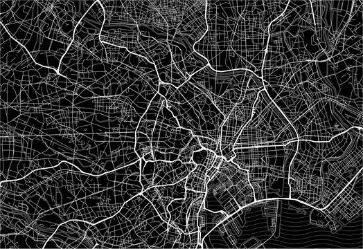 Dark area map of Tokyo, Japan