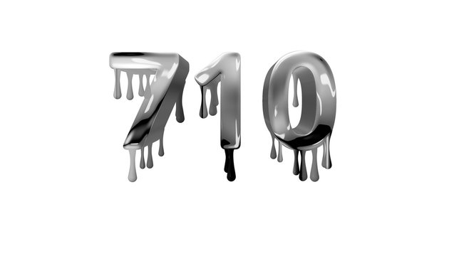 silver dripping number 710 with white background