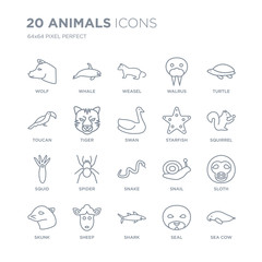 Collection of 20 animals linear icons such as Wolf, Whale, Shark, Sheep, skunk, Turtle, Starfish, Snake, Squid, Tiger line icons with thin line stroke, vector illustration of trendy icon set.