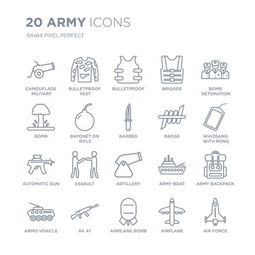 Collection of 20 Army linear icons such as Camouflage military clothing, Bulletproof Vest, Airplane Bomb, AK 47, Armo Vehicle line icons with thin line stroke, vector illustration of trendy icon set.