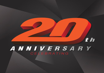 20th anniversary celebrating 3d logo red color on gray background vector