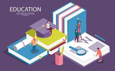 Creative isometric templates for staff education, consulting, college, education app. Modern vector illustration concepts for website and mobile website development. - Vector