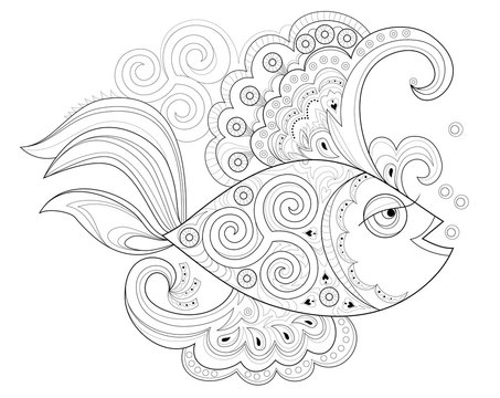 Black and white page for coloring book. Fantasy drawing of beautiful fairyland fish with Celtic ornament. Pattern for print and embroidery. Worksheet for children and adults. Vector image.
