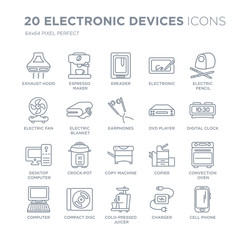 Collection of 20 Electronic devices linear icons such as Exhaust hood, espresso maker, Cold-pressed juicer, Compact disc line icons with thin line stroke, vector illustration of trendy icon set.