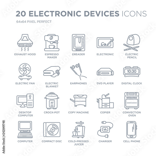 Collection of 20 Electronic devices linear icons such as Exhaust