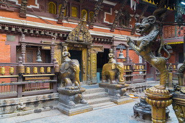 Kathmandu , Nepal - October 2018: Golden temple at Patan Durbar Square in Kathmandu, Nepal. Kathmandu Patan Durbar Square is one of UNESCO World Heritage Sites.