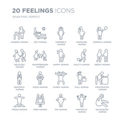 Collection of 20 Feelings linear icons such as hungry human, hot fat free fresh hopeful human line icons with thin line stroke, vector illustration of trendy icon set.