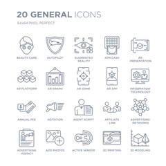 Collection of 20 general linear icons such as beauty care, autopilot, active sensor, add photos, advertising agency line icons with thin line stroke, vector illustration of trendy icon set.