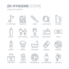 Collection of 20 Hygiene linear icons such as Cotton swab, Cosmetics, antibacterial, Antiseptic, baby wipe, Chlorine line icons with thin line stroke, vector illustration of trendy icon set.