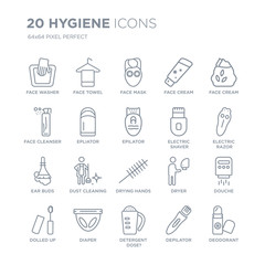 Collection of 20 Hygiene linear icons such as face washer, towel, Detergent dose?, Diaper, dolled up, cream line icons with thin line stroke, vector illustration of trendy icon set.