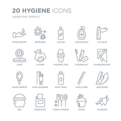 Collection of 20 Hygiene linear icons such as Moisturizer, microbes, food hygiene, Fragance, Gel, Lip balm, hygiene kit line icons with thin line stroke, vector illustration of trendy icon set.