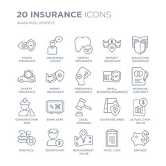 Collection of 20 Insurance linear icons such as vision insurance, insurance advice, replacement value, Beneficiary, risk pool line icons with thin line stroke, vector illustration of trendy icon set.