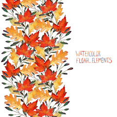 autumn leaves, watercolor, handmade, card for you, maple and oak leaves