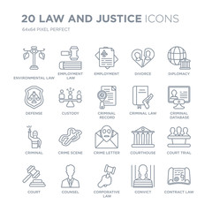 Collection of 20 law and justice linear icons such as environmental law, employment corporative counsel, Court line icons with thin line stroke, vector illustration of trendy icon set.