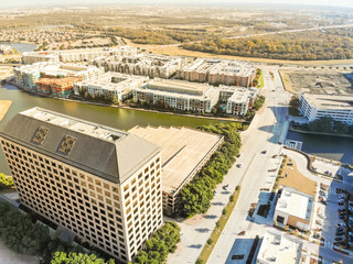 Top view waterfront downtown Las Colinas, an upscale, developed area in the Dallas suburb, Texas, USA