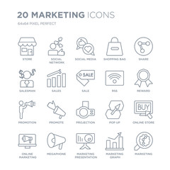 Collection of 20 Marketing linear icons such as Store, Social network, marketing Presentation, Megaphone, Online line icons with thin line stroke, vector illustration of trendy icon set.