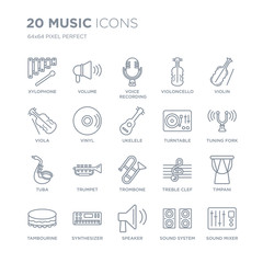 Collection of 20 Music linear icons such as Xylophone, Volume, Speaker, Synthesizer, Tambourine, Violin, Turntable, Trombone line icons with thin line stroke, vector illustration of trendy icon set.