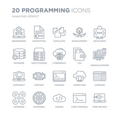 Collection of 20 Programming linear icons such as Engineering, Encryption, Coding, Cogwheel, Command, Developer, Css, Console line icons with thin line stroke, vector illustration of trendy icon set.