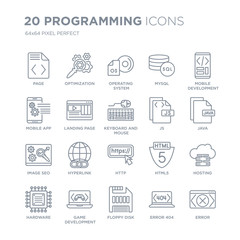 Collection of 20 Programming linear icons such as Page, Optimization, Floppy disk, Game development, Hardware line icons with thin line stroke, vector illustration of trendy icon set.
