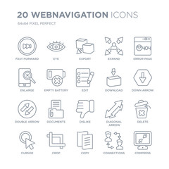 Collection of 20 Webnavigation linear icons such as Fast forward, Eye, Copy, Crop, Cursor, Error page, Download, Dislike line icons with thin line stroke, vector illustration of trendy icon set.