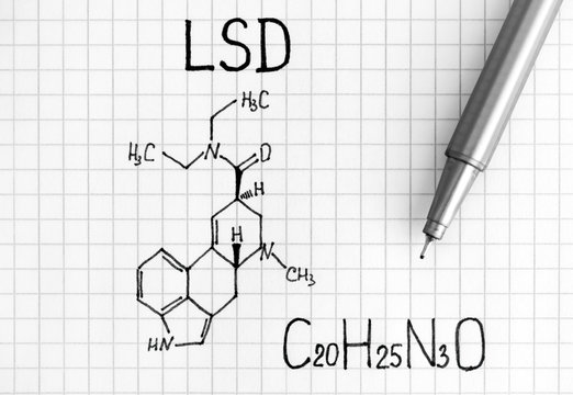 Chemical formula of LSD with black pen.