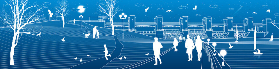 Urban life. City embankment. People walk along the sidewalk. Evening illuminated park. Kids playing. Birds flying. Hydro power plant. River Dam, energy station, water power. Vector design art
