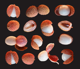 Collection of fresh lychees isolated on black background, macro. Tropical peeled lychee fruits. Litchi chinensis, pinyin, soapberry family, Sapindaceae