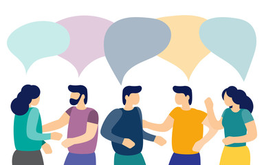 Men and women talk to each other with speech bubbles. Business discussion and brainstorming. Vector illustration.