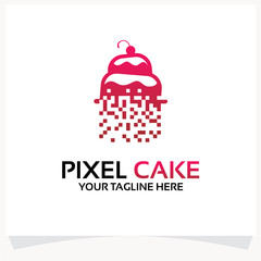 Pixel Cake Logo Template Design Vector Inspiration. Icon Design