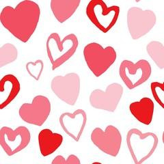 Hearts seamless pattern. Valentines Day handwritten background.